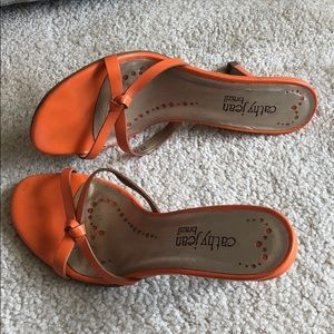 Orange heels sandals. Made in Brazil. Size 6